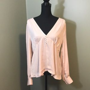 NWT Codexmode Pink Long Sleeve Open Back Blouse
